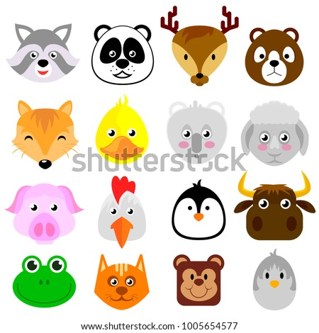 Set of flat cartoon faces of different animal, vector illustration isolated on white background