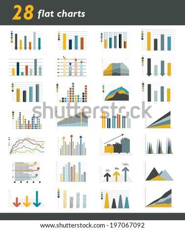 Set of 28 flat charts diagrams for infographic Vector