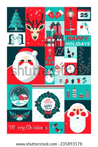 Set of flat Christmas icons. Christmas and Happy New Year greeting card templates. Happy holidays. Christmas card, poster, banner, frame. Flat vector illustration