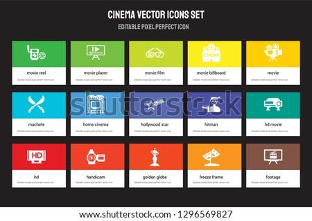 set of 15 flat cinema icons