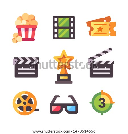 Set of flat cinema icons. Popcorn, tickets, award, clapper board, filmstrip and 3d glasses