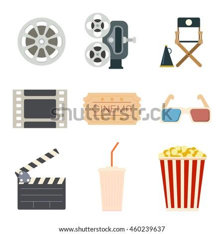 Set of flat cinema icons. Vector illustrations