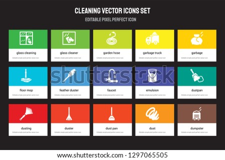 Set of 15 flat cleaning icons - Glass cleaning, cleaner, Dust pan, Garbage, Dusting, Emulsion, Dustpan, Dust. Vector illustration isolated on colorful background