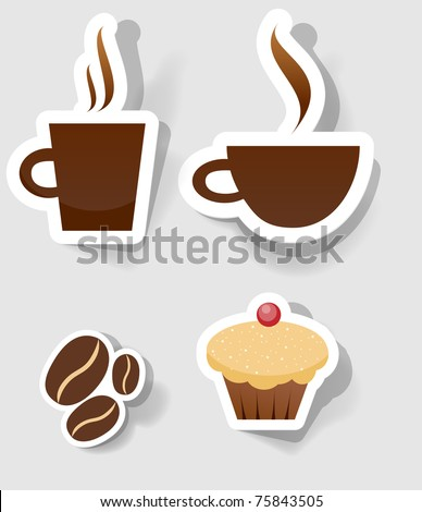 set of flat coffee icon
