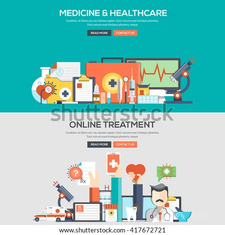 Set of Flat Color Banners Design Concepts for Medicine and Healthcare and Online Treatment.Vector