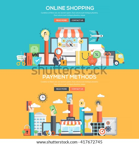 Set of Flat Color Banners Design Concepts for Online Shopping and Payment Methods.Vector
