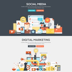 Set of Flat Color Banners Design Concepts for Social Media and Digital Marketing.Vector