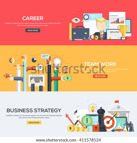 Set of flat color design web banners for Career, Team Work and Business Strategy.Vector