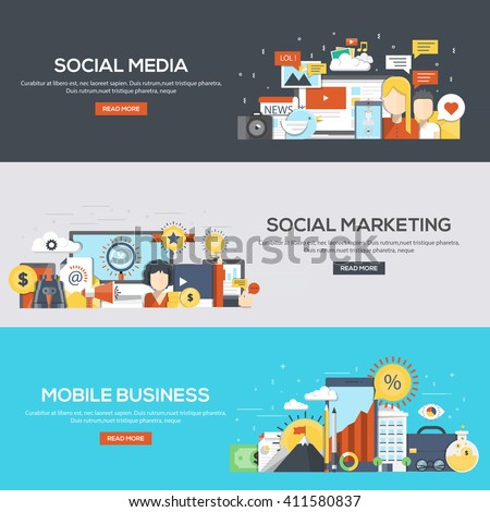 Set of flat color design web banners for Social Media, Social Marketing and Mobile Business.Vector