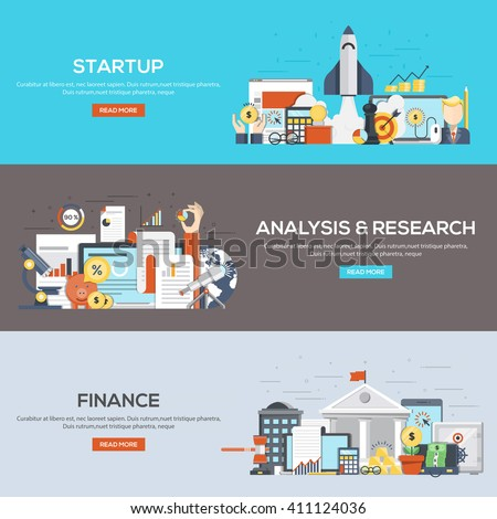 Set of flat color design web banners for Startup, Analysis and Research and Finance. Vector