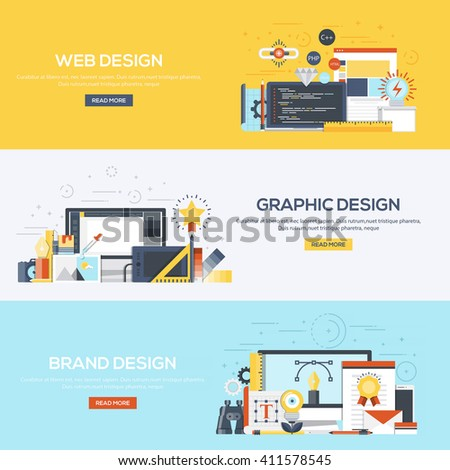Set of flat color design web banners for Web Design, Graphic Design and Brand Design.Vector
