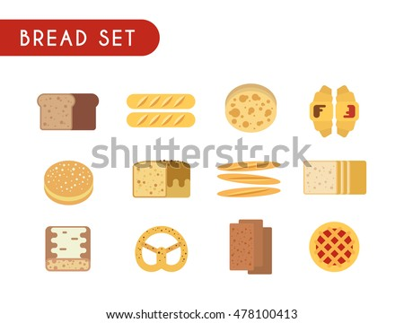 set of flat color icons bread