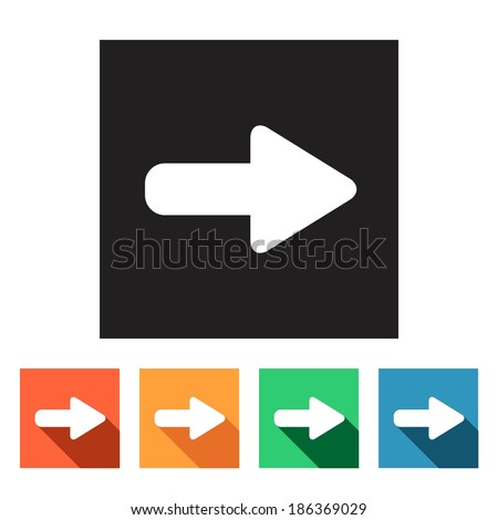 Set of flat colored simple web icons (arrows), vector illustration