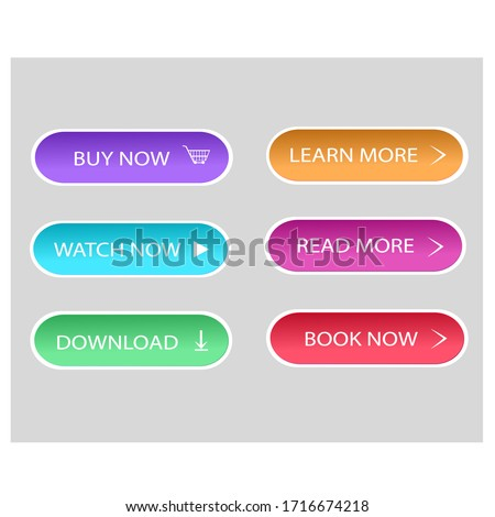 Set of flat,colorful buttons for sites and applications. Vector illustration.