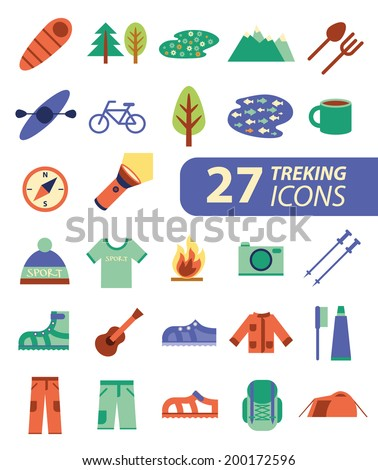 Set of flat colorful hiking trekking and camping icons Outdoor activity symbols drawn in vector Tent sleeping bag fire mountain forest
