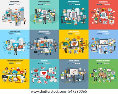Set of flat concept online education, web and app development, seo optimization, finance and marketing, back to school, big data analysis. Conceptual vector icons for website and graphic design.
