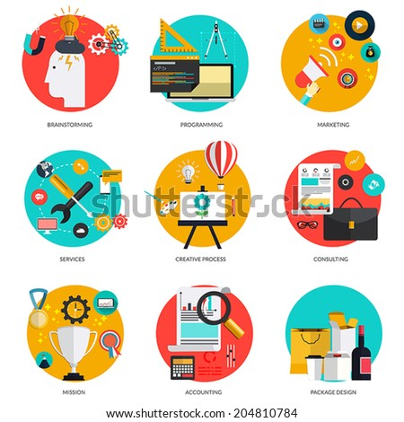 Set of flat  concepts on brainstorming and marketing, programming, service,creative process, consulting,mission, accounting and package design . Design elements for web and mobile applications