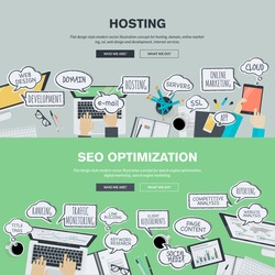 Set of flat design banners for hosting and SEO.
