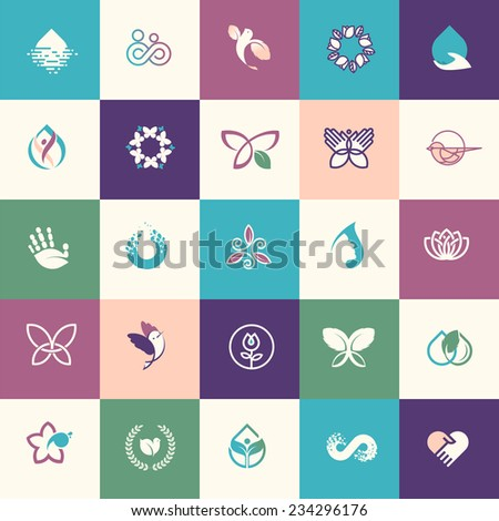 set of flat design beauty and