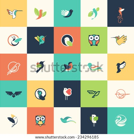 set of flat design bird icons
