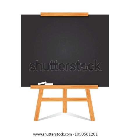 Set of flat design blackboard background and wooden frame. Empty clean with scratches black chalkboard. Modern easel isolated on white background. Vector illustration
