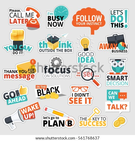 Set of flat design business stickers. Isolated vector illustrations for business communication, social network, social media, web design, business presentation, marketing material. #561768637