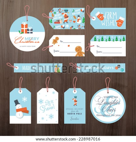 Set of flat design Christmas and New Year gift tags