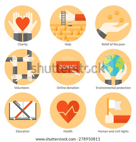 Set Of Flat Design Colorful Round Vector Icons For Charity Donation