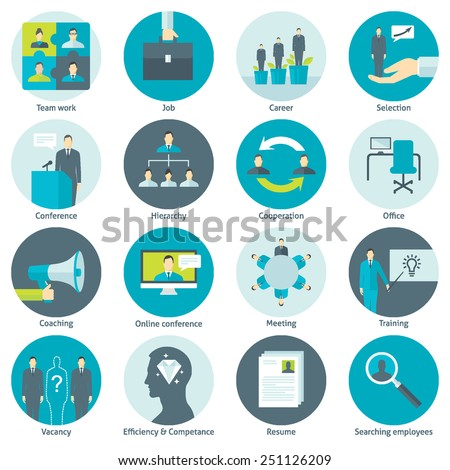 Set of flat design colorful round vector icons for human resource management, recruitment, work of company, cooperation, conference, professional training, coaching, team building isolated on white