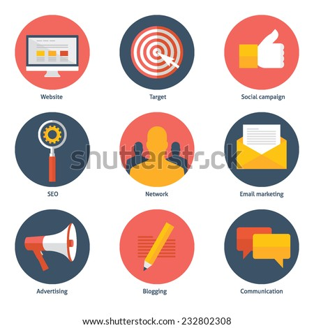 Set of flat design colorful vector illustration icons for digital marketing, social campaign, seo, advertising, blogging, communication isolated on white