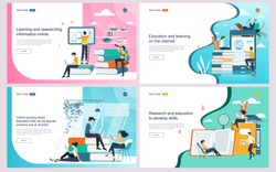 Set of flat design concept education for website and landing page template.Online education, training and courses, investment in education, Vector
