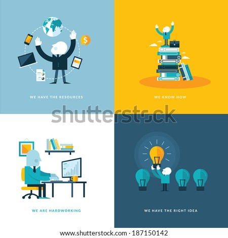 Set of flat design concept icons for business. Icons for company resources, know how, hardworking, and creativity.