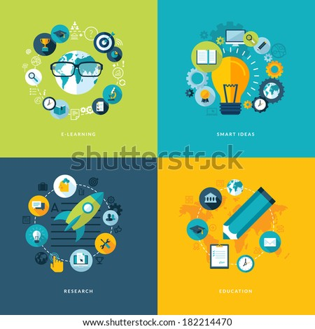 Set of flat design concept icons for education. Icons for online learning, smart ideas, research and education.