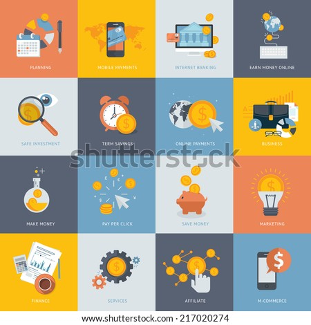 Set of flat design concept icons for finance, banking, online payment, online commerce. Icons for website development and mobile phone services and apps.
