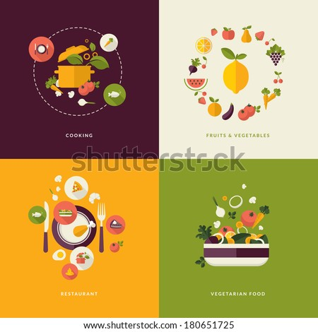 Set of flat design concept icons for food and restaurant. Icons for cooking, fruits and vegetables, restaurant and vegetarian food.