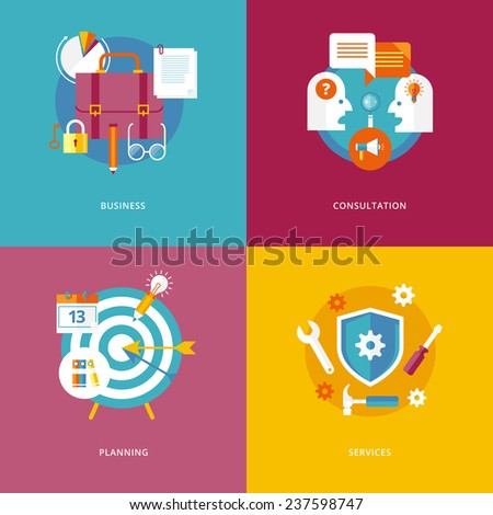 Set of flat design concept icons for marketing. Icon for business, consultation, planning and services.