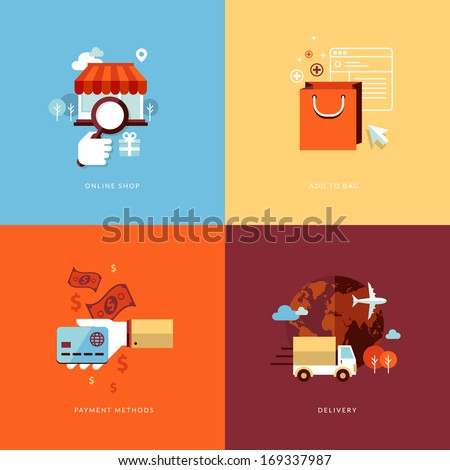 Set of flat design concept icons for online shopping. Icons for online shop, add to bag, payment methods and delivery.