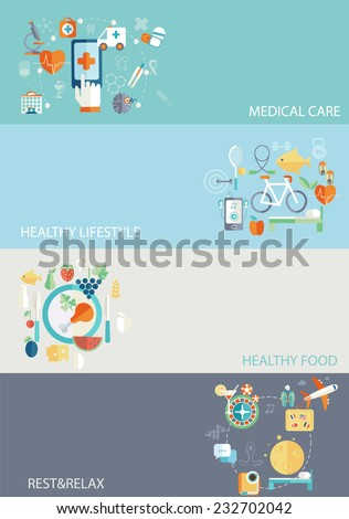 Set of flat design concept icons for web and mobile phone rest and relax, medical, Healthy style life, healthy food and farm fresh concept. Sports Health Infographics, flat style, vector.