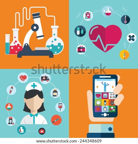 Set of flat design concept icons for web and mobile phone rest and relax, medical, Healthy style life. Sports Health Infographics, flat style, vector.