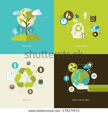 Set of flat design concept icons for web and mobile phone services and apps. Icons for ecology, think green, recycle and save the planet.