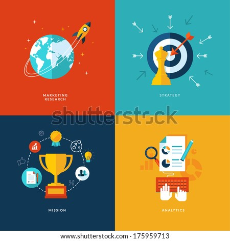 Set of flat design concept icons for web and mobile phone services and apps. Icons for marketing research, strategy, mission, analytics.