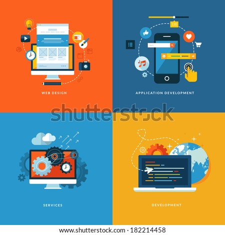 Set of flat design concept icons for web and mobile phone services and apps. Icons for web design, application development, services and programming.