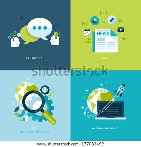 Set of flat design concept icons for web and mobile services and apps. Icons for consulting, news, seo, web development.