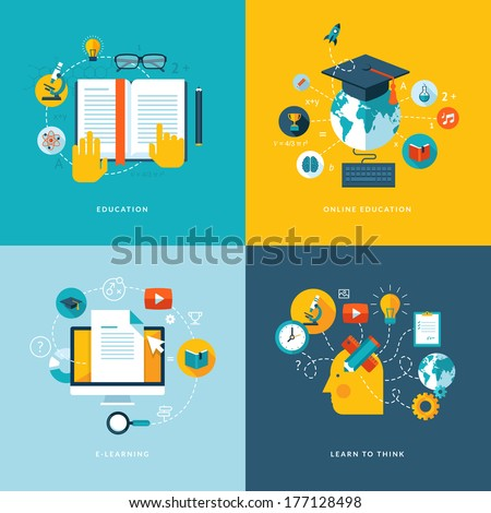 Set of flat design concept icons for web and mobile services and apps. Icons for education, online education, online learning, learn to think.