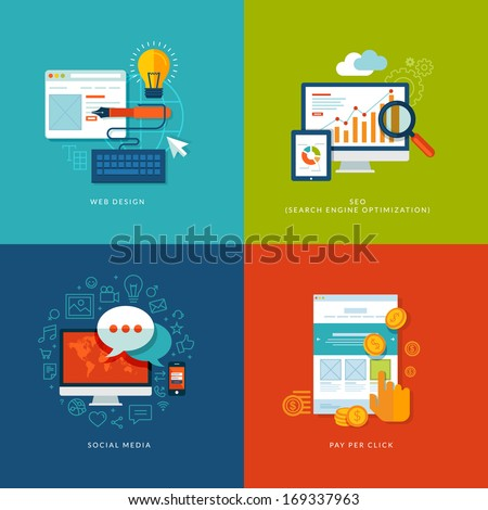 Set of flat design concept icons for web and mobile services and apps. Icons for web design, seo, social media and pay per click internet advertising.