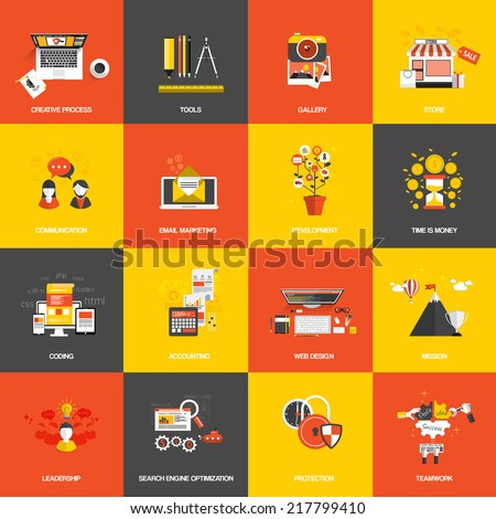Set of flat design concept icons website development creative process store seo gallery tools time is money teamwork and accounting Vector