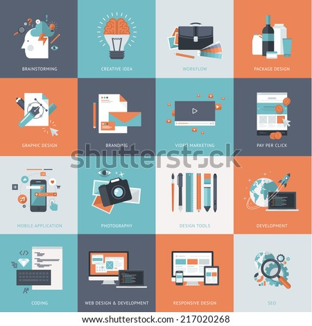 Set of flat design concept icons website development, graphic design, branding, seo, web and mobile apps development, marketing and e-commerce.