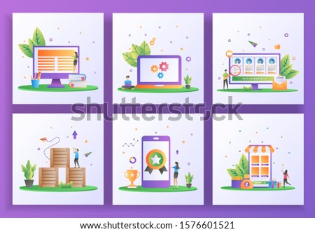 Set of flat design concept. Online learning, Maintenance, Online recruitment, Logistic Distribution, High quality, Cash back. Can use for web landing page, app, banner template. Vector Illustration