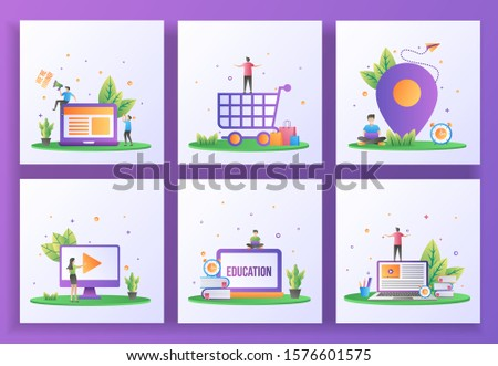 Set of flat design concept. We are hiring, Happy shopping, Location, Video play, Online education, E-Learning. Can use for web landing page, ui, mobile app, banner template. Vector Illustration
