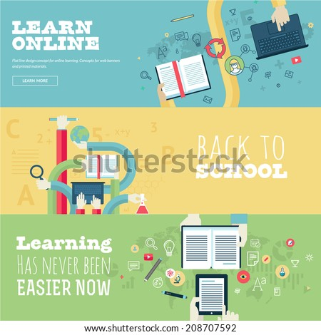 Set of flat design concepts for education, online learning, back to school. Concepts for web banners and print materials.